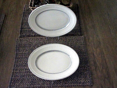 "SHENANGO CHINA 12"" Platter Ribbed Rim Black Band & Design"