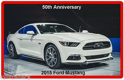 2015 White Ford Mustang 50th Anniversary Auto Refrigerator / Tool Box Magnet