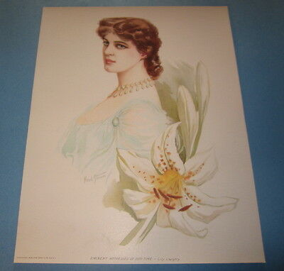 Old Vintage 1904 - Antique VICTORIAN PRINT - Eminent Actresses - LILY LANGTRY