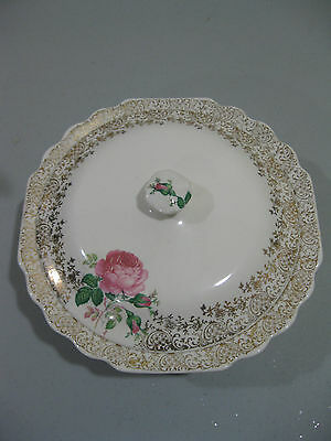 """W S GEORGE  """"LIDO WHITE"""" PINK ROSE COVERED CASSEROLE VEGETABLE"""