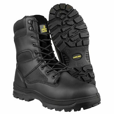 Amblers SIA Tactical Safety Toe Police Combat Leather Side Zip Boot Black FS008