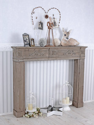 Large Wooden Shabby Chic Fireplace Brown Furniture