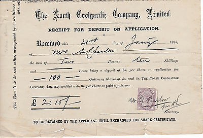 Share Certificate Receipts - North Coolgardie Co, Australia - Goldfields