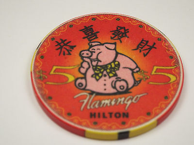 FLAMINGO HILTON Casino $5 Chip Chinese New Year PIG Reno NV Nevada 1995