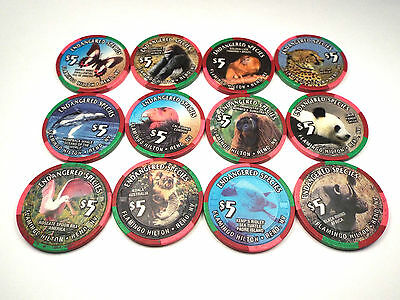 FLAMINGO HILTON Casino $5 Chip Set 12 ENDANGERED SPECIES Reno NV 1996 RARE