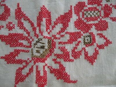 Vintage Antique Red & Brown Art Deco Embroidery Flowers Tablecloth-48x48-Linen