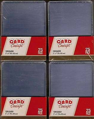 Trading Card Top Loaders 100 Brand New Toploaders 76mm x 102mm - 4 Packs of 25