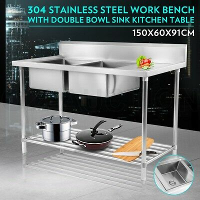 New 1500mmx600mm Commercial Double Bowl Kitchen Sink Bench 304 Stainless Steel