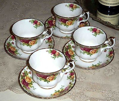 Royal Albert Old Country Rose Fine Bone China 8 Piece Coffee Tea Cup Saucer Set