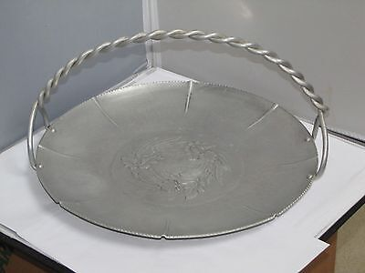 Vintage Hand Wrought Aluminum Platter w/ Handle, IRIS, Chadwell Silver Co.