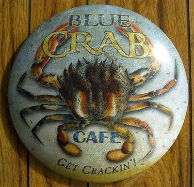 Blue Crab Cafe Nautical Bar Sign Round Dome Maritime