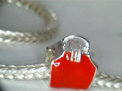 SILVER PLATED ENAMEL RED PURSE CHARM SPACER BEAD ** SEE MY STORE 4 BRACELETS