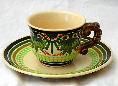 PAUL FOUILLEN QUIMPER FRENCH FAIENCE CUP AND SAUCER