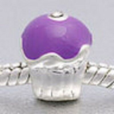 SILVER PLATED PURPLE ENAMEL CUPCAKE SPACER BEAD CHARM ** C MY STORE 4 BRACELETS