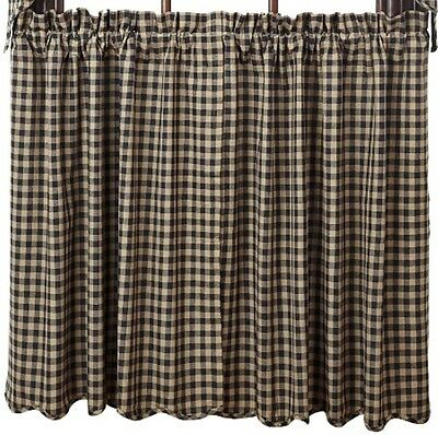 Country Black Tan Check Lined Curtain Cafe Tiers 72x24 Check Size 1/2 in
