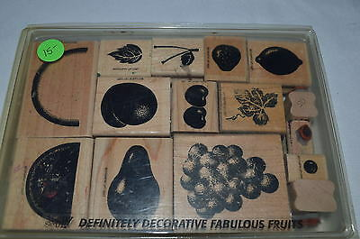 """Stampin Up! set of 15 wood/rubber """"Fabulous Fruits"""""""