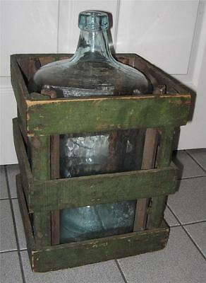 ANTIQUE FABULOUS OLD GREEN PAINT WOOD CRATE W/LARGE BLUE GLASS WATER BOTTLE