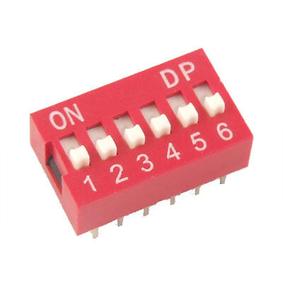 10 Pcs 2.54mm Pitch 6 Position Slide Type DIP Switch Red