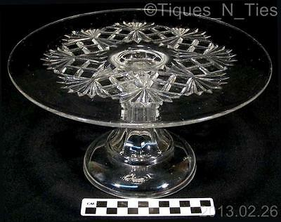 Antique Co-operative 200 OMN Fickle Block EAPG Flint Glass Footed Cake Stand FF