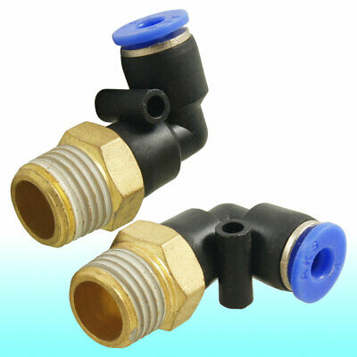 """2 Pcs 1/4"""" Male Thread to 4mm Elbow Pneumatic Connector Fittings"""