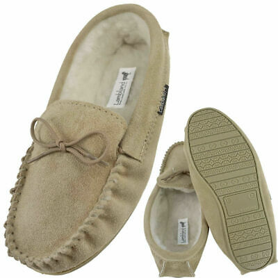 Mens British Made Suede Sheepskin Moccasin Slippers with Sole - Brown, Navy