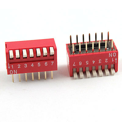 5 Pcs 2.54mm Pitch 7 Position Slide Type DIP Switch Red