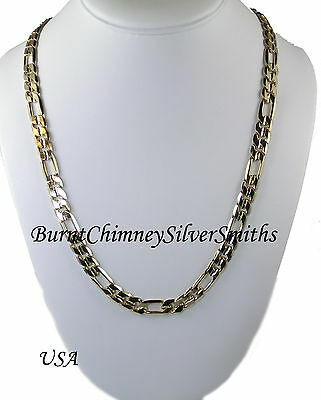 """18K Gold Bonded Figaro Chain 3 x 1 Necklace 20"""" X 9mm Heavy Overlay Made in USA"""