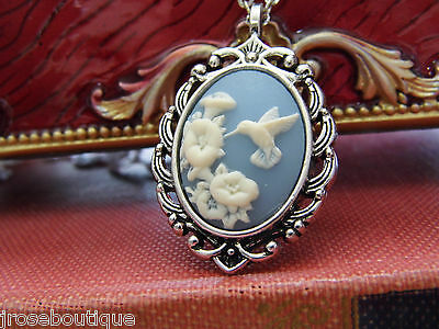 VINTAGE STYLE pink purple  BLUE HUMMINGBIRD SILVER ANTIQUE HEART CAMEO NECKLACE