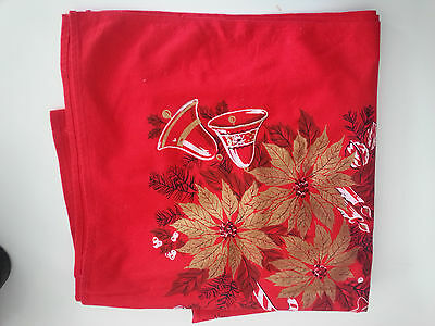 46 Square Vintage Red Christmas Printed Tablecloth Gold Poinsettia AS IS