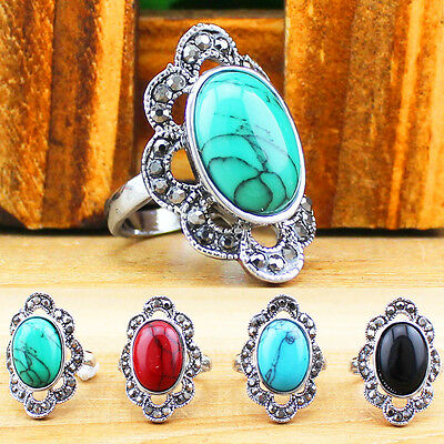 Wholesale Lot 10pcs Antique Silver Plated Plum Flower Turquoise Rhinestone Rings