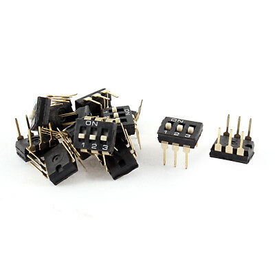 10 Pcs 2.54mm Pitch 3 Position IC Type DIP Switch Black