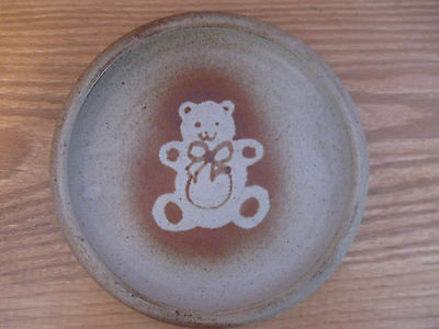 Stoneware Teddy Bear Plate From the Deer Flat Pottery