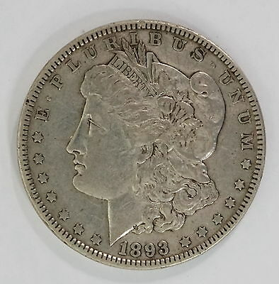 1893 US Mint Morgan Silver $1 Dollar Extra Fine XF Condition Coin