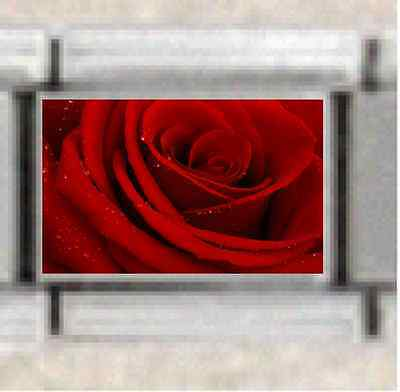 Flower Red Rose Stainless Steel Italian Charm Fits ALL 9mm Bracelets
