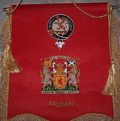 Royal Scottish Scotland Clan Heraldry Brown Family Name Arms Banner Flag Reunion