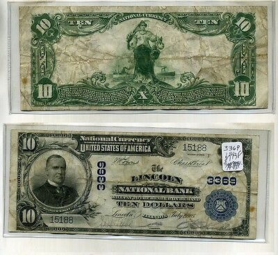 LINCOLN ILLINOIS 1902 $10 LARGE SIZE NATIONAL BANK NOTE