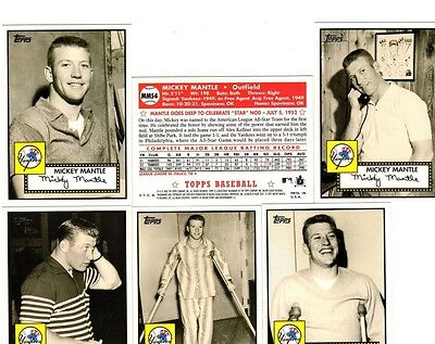 LOT OF 6 2007 TOPPS MICKEY MANTLE 1952 STYLE BASEBALL CARDS MMS  4 5 9 11 13