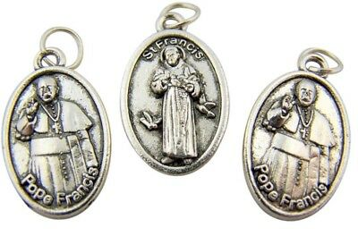 """Bulk Lot of 3 Silver Tone Saint Francis with Pope Francis Back 1"""" Medal Pendant"""