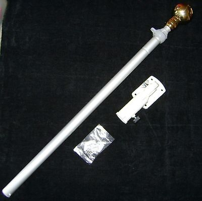 New 6 Foot Aluminium Telescopic Flag Pole With Adjustable Wall Bracket
