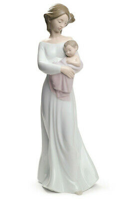 Nao By Lladro #1691 My Dearest Brand Nib Mom Holding Baby Girl Pink Large Free S