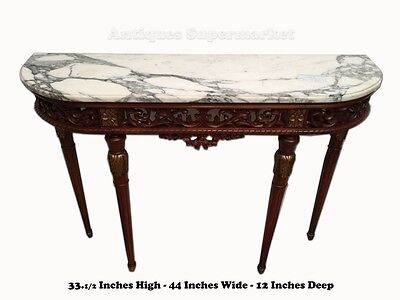 GORGEOUS OPENWORK CARVED MAHOGANY & MARBLE FRENCH LOUIS XVI STYLE CONSOLE  10707