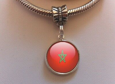 Morocco Moroccan Country Flag Travel Dangle Charm for European Bead Bracelets