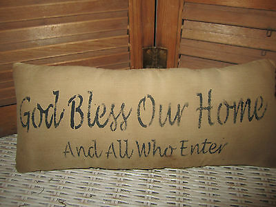Primitive Stenciled Pillow - God Bless Our Home And all who enter