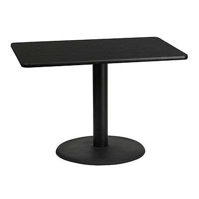 30'' X 42'' Rectangular Black Laminate Table Top With 24'' Round Table Ht Base