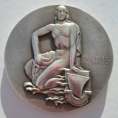 NUDE WOMAN / CITY OF PARIS FRENCH ART DECO MEDAL by MARCEL RENARD