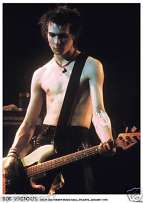 "Sex Pistols ""sid Vicious Playing Guitar - Atlanta 1978"" U.k. Commercial Poster"
