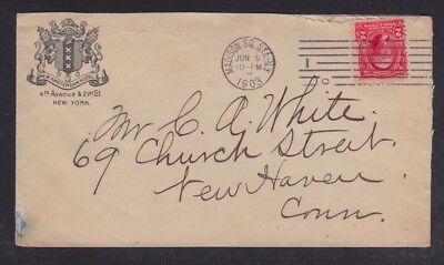 Usa 1903 New Amsterdam Hotel Cover New York To New Haven Connecticut