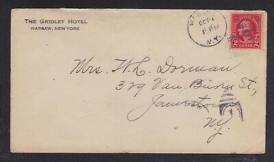 Usa 1925 Gridley Hotel Cover Warsaw To Jamestown New York