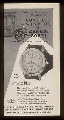 1956 Ernest Borel concealed winding Swiss watch photo vintage print ad