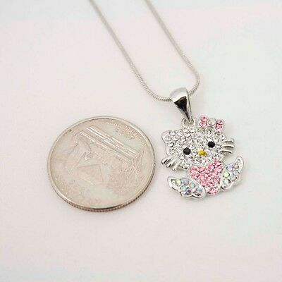 sparking rhinestone crystal pink flower pendant hellokitty necklace 1711m